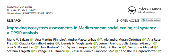 Improving ecosystem assessments in Mediterranean socio-ecological systems: new publication of the ESP Mediterranean working group